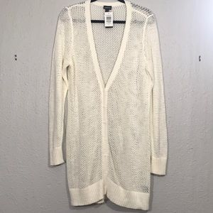 Torrid NWT ivory Open Weave Long Button Cardigan